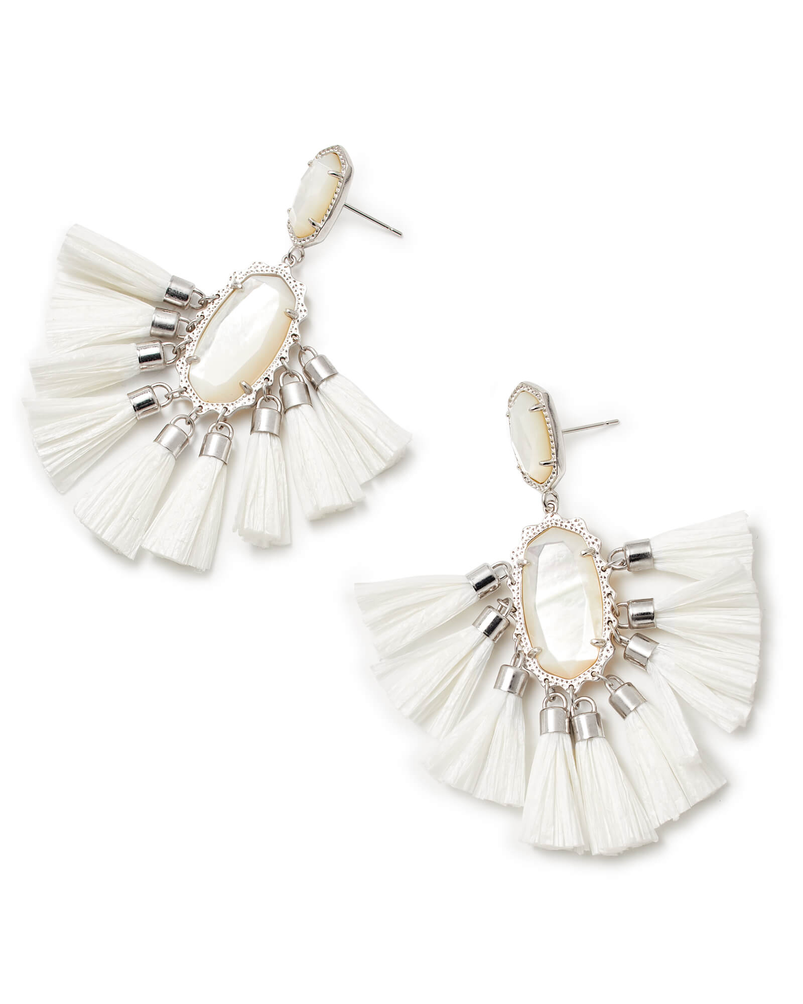 Kristen Silver Statement Earrings In Ivory Mother of Pearl