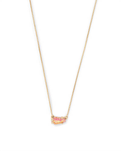 Jayde Gold Pendant Necklace in Magenta Kyocera Opal