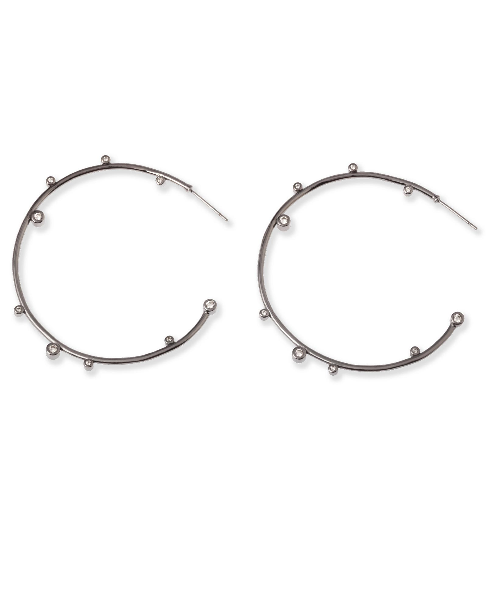 2c238b44e Lety Crystal Hoop Earrings in Hematite | Kendra Scott
