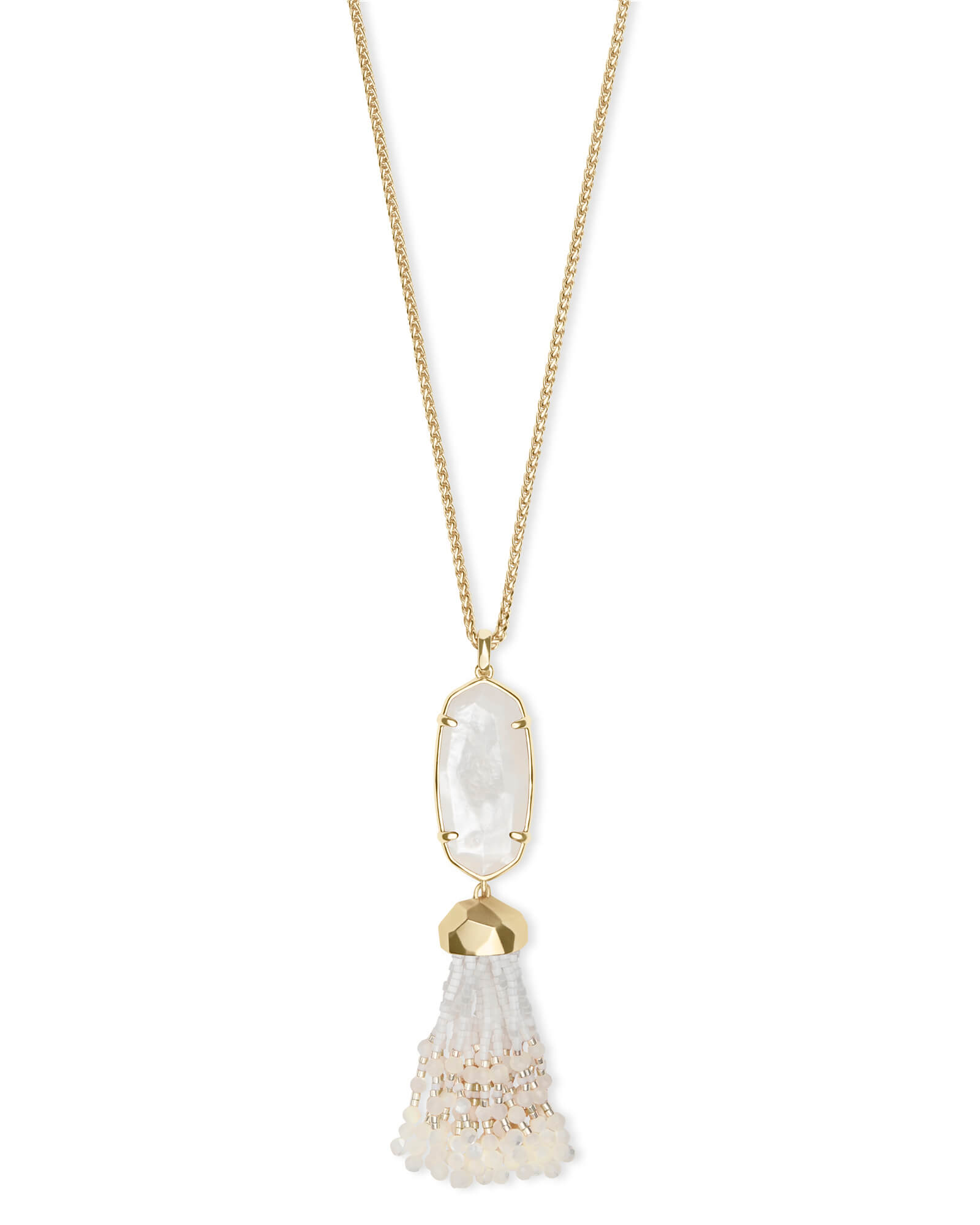 Eva Gold Long Pendant Necklace in Ivory Pearl