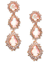 Aria Clip On Rose Gold Statement Earrings in Blush Dichroic Glass
