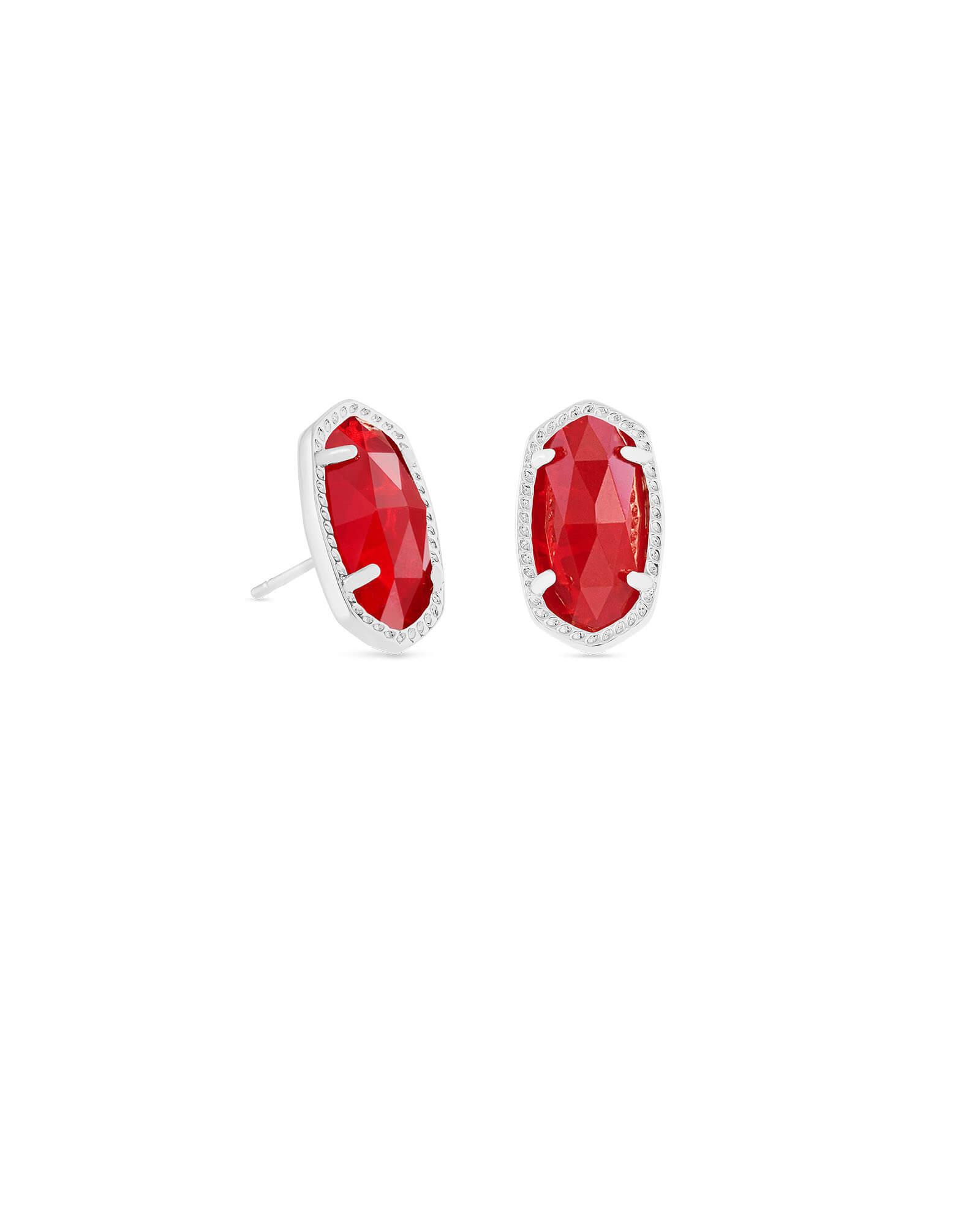 Ellie Silver Stud Earrings In Ruby Red