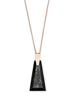 Collins Rose Gold Long Pendant Necklace in Black Granite