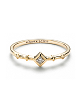 Wave 14k Yellow Gold Band Ring in White Diamond - 7