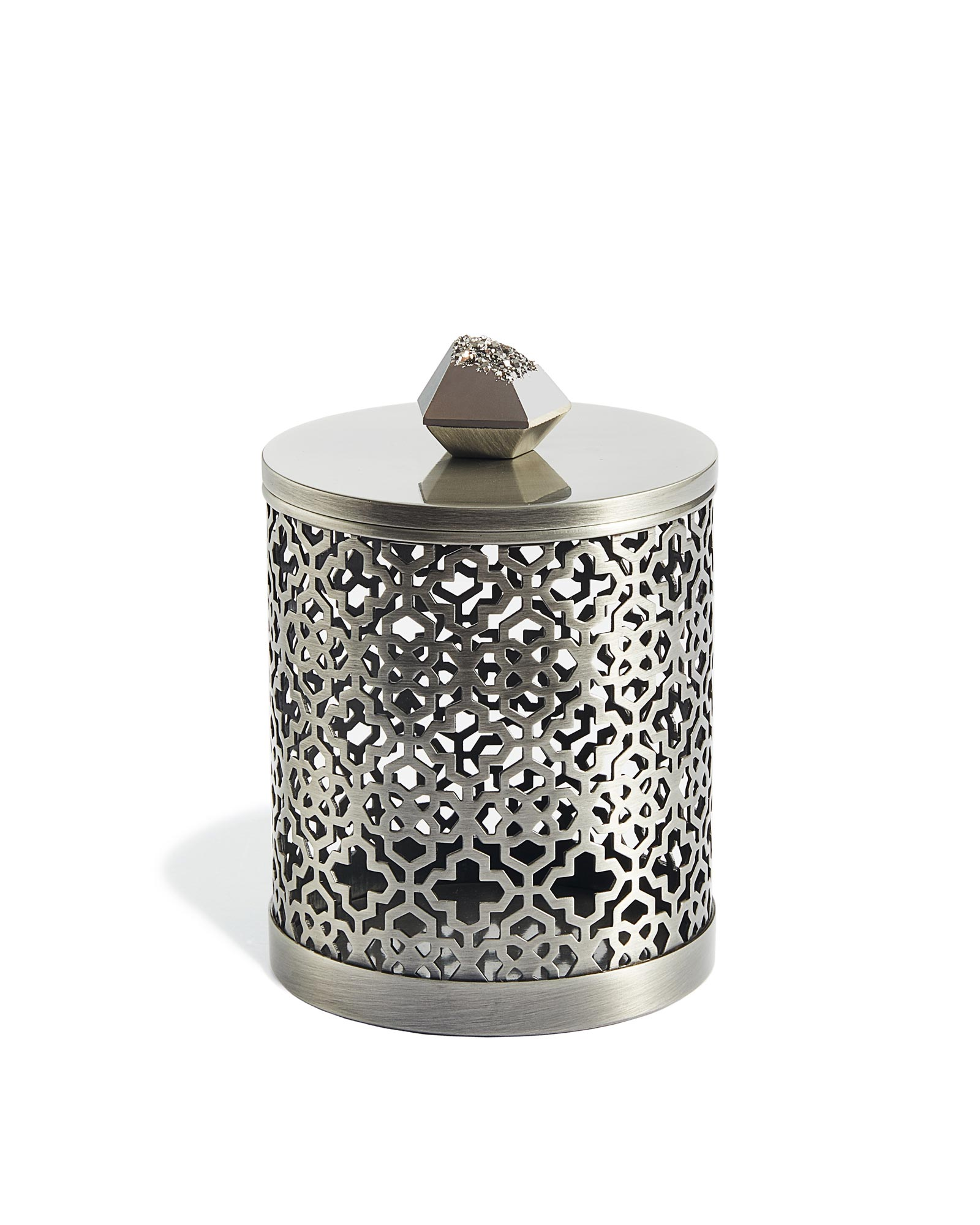 Filigree Canister in Platinum Drusy