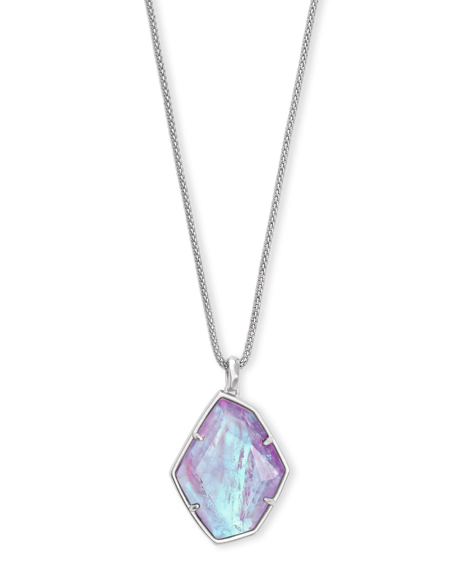 Kalani Silver Pendant Necklace in Amethyst Dichroic Glass