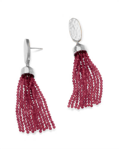 Marin Silver Statement Earrings in Maroon Jade