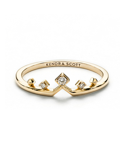Michelle 14k Yellow Gold Band Ring in White Diamond