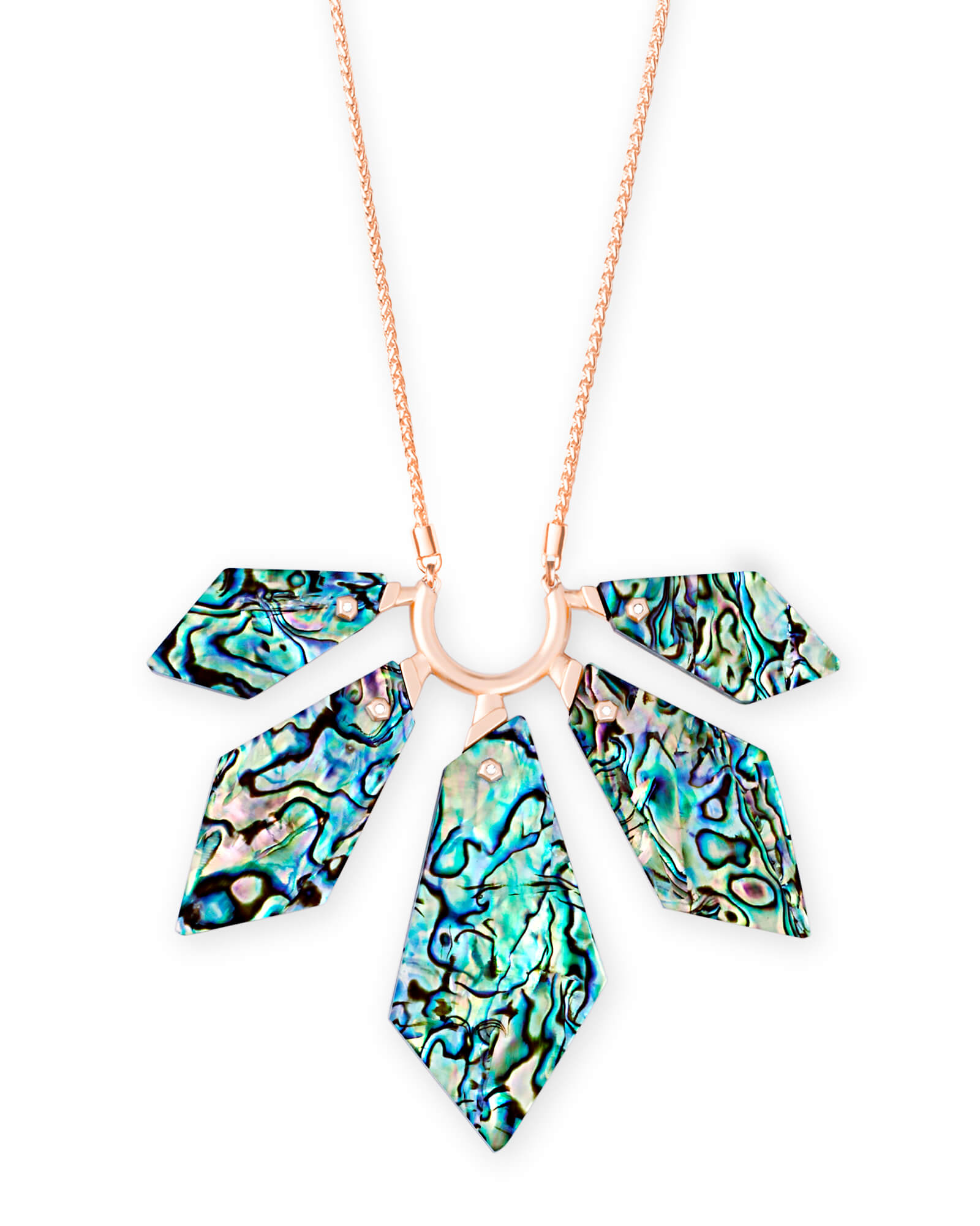 Mari Rose Gold Long Pendant Necklace in Abalone Shell