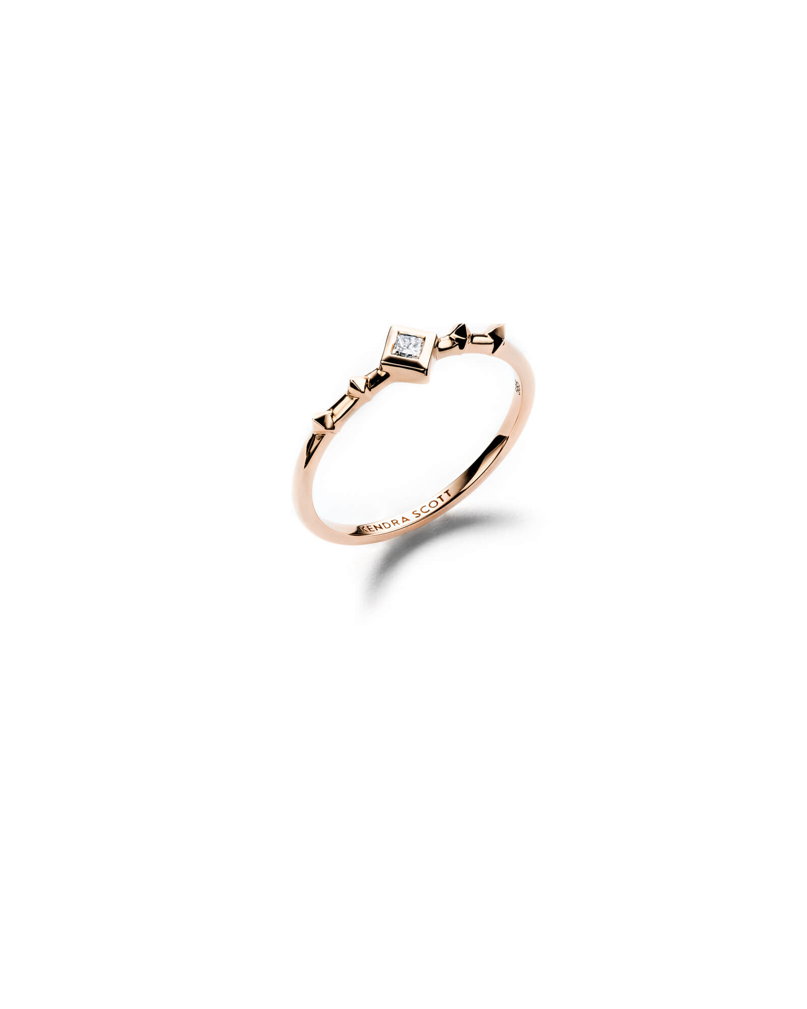 Wave 14k Rose Gold Band Ring in White Diamond - 6
