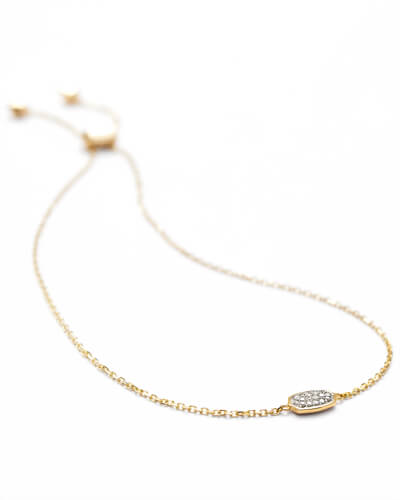 Millicent Adjustable Bracelet in White Diamond and 14k Yellow Gold