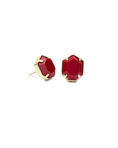 Taylor Gold Stud Earrings in Dark Red