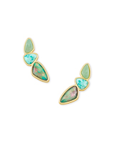 Ivy Gold Ear Climber Earrings in Sea Green Mix