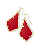 Alex Gold Drop Earrings in Bright Red Opaque Glass