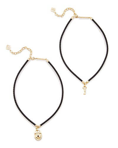 Sunny Choker Necklace Set in Black Cord