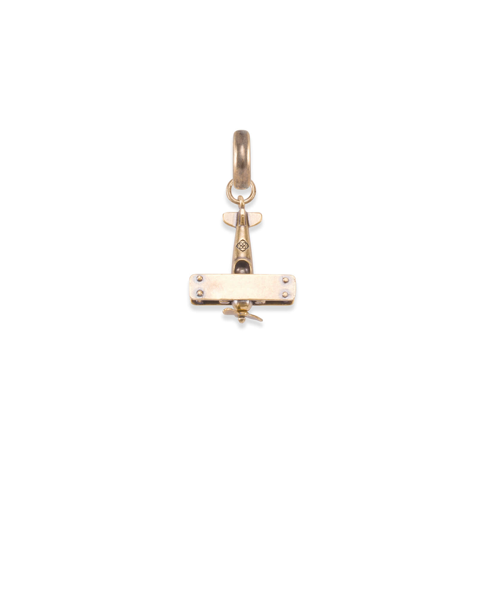 North Carolina Airplane Charm in Vintage Gold