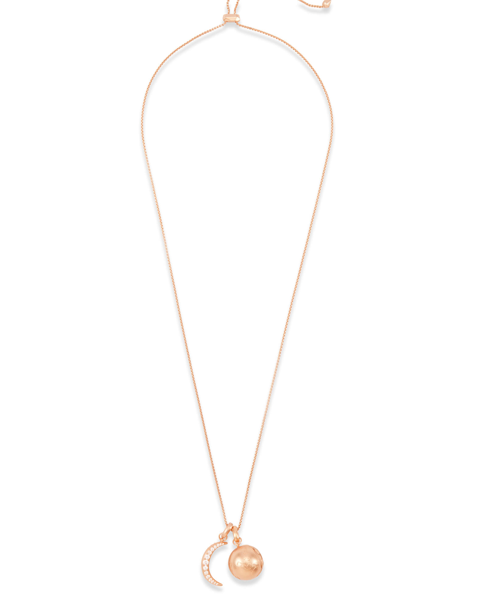 To the Moon and Back Charm Necklace Set in Rose Gold