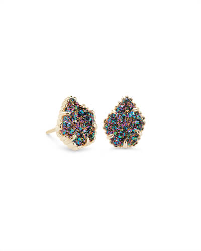 Quick View Tessa Gold Stud Earrings In Multicolor Drusy