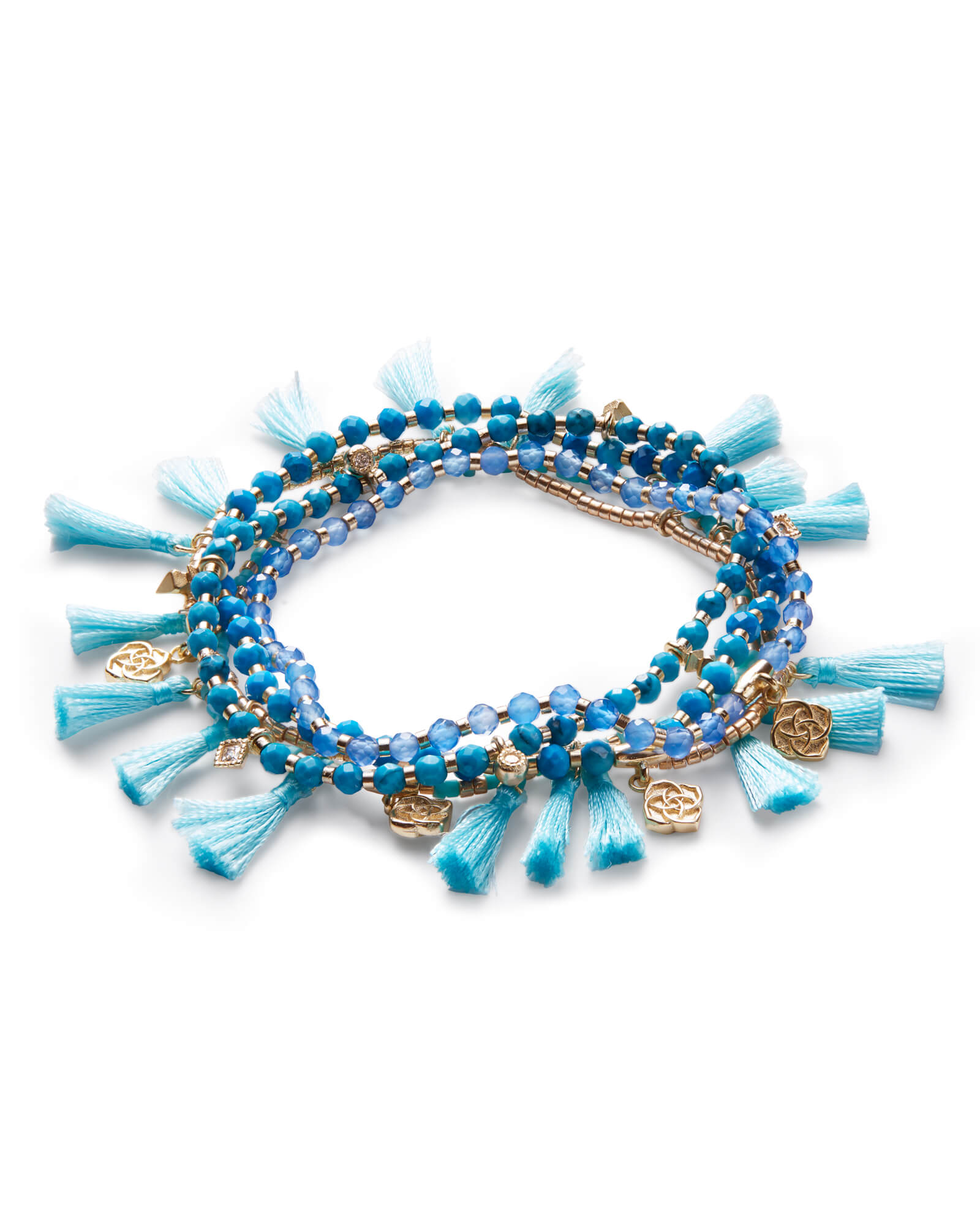 Julie Gold Stretch Bracelet Set In Aqua Howlite Mix