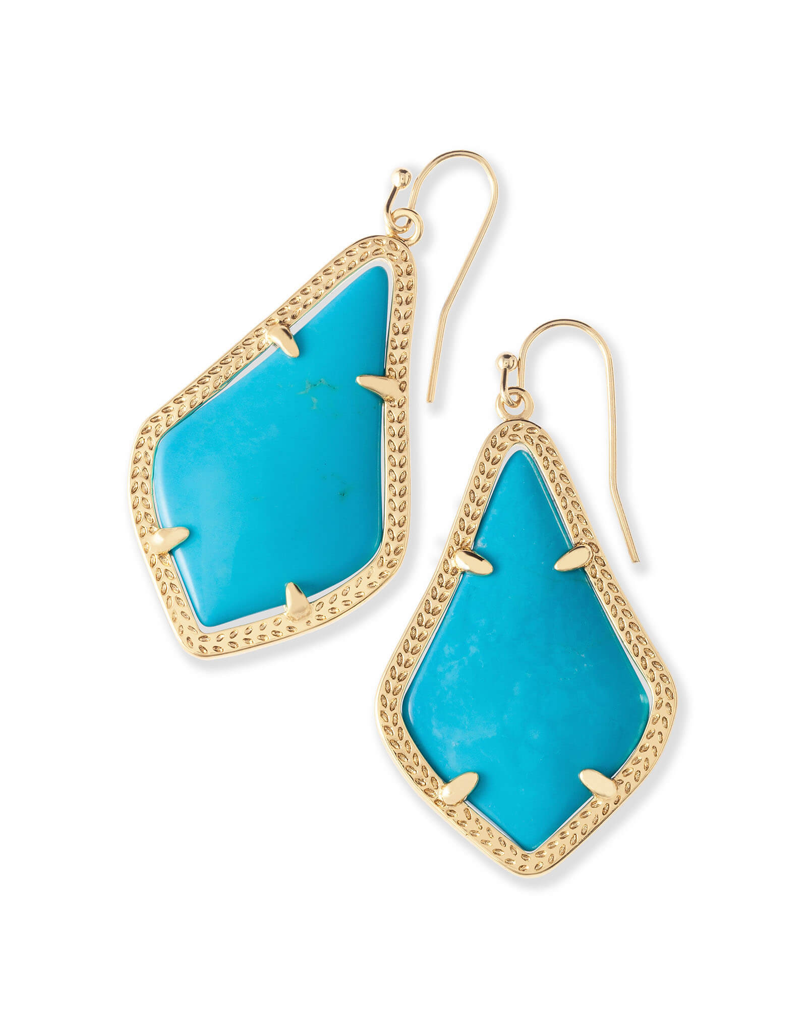 Alex Gold Drop Earrings In Turquoise
