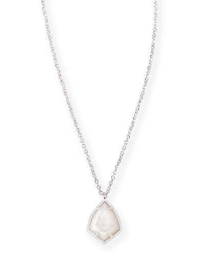 Cory Silver Pendant Necklace in White Pearl