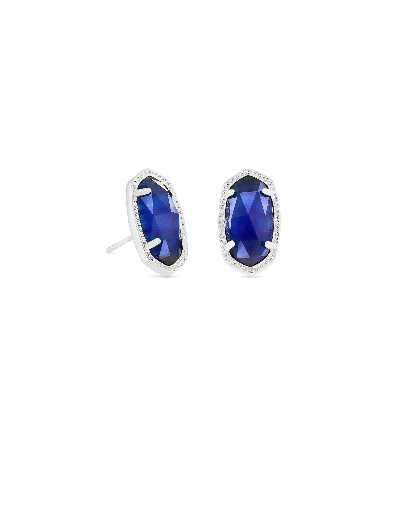 Ellie Silver Stud Earrings in Cobalt Cats Eye