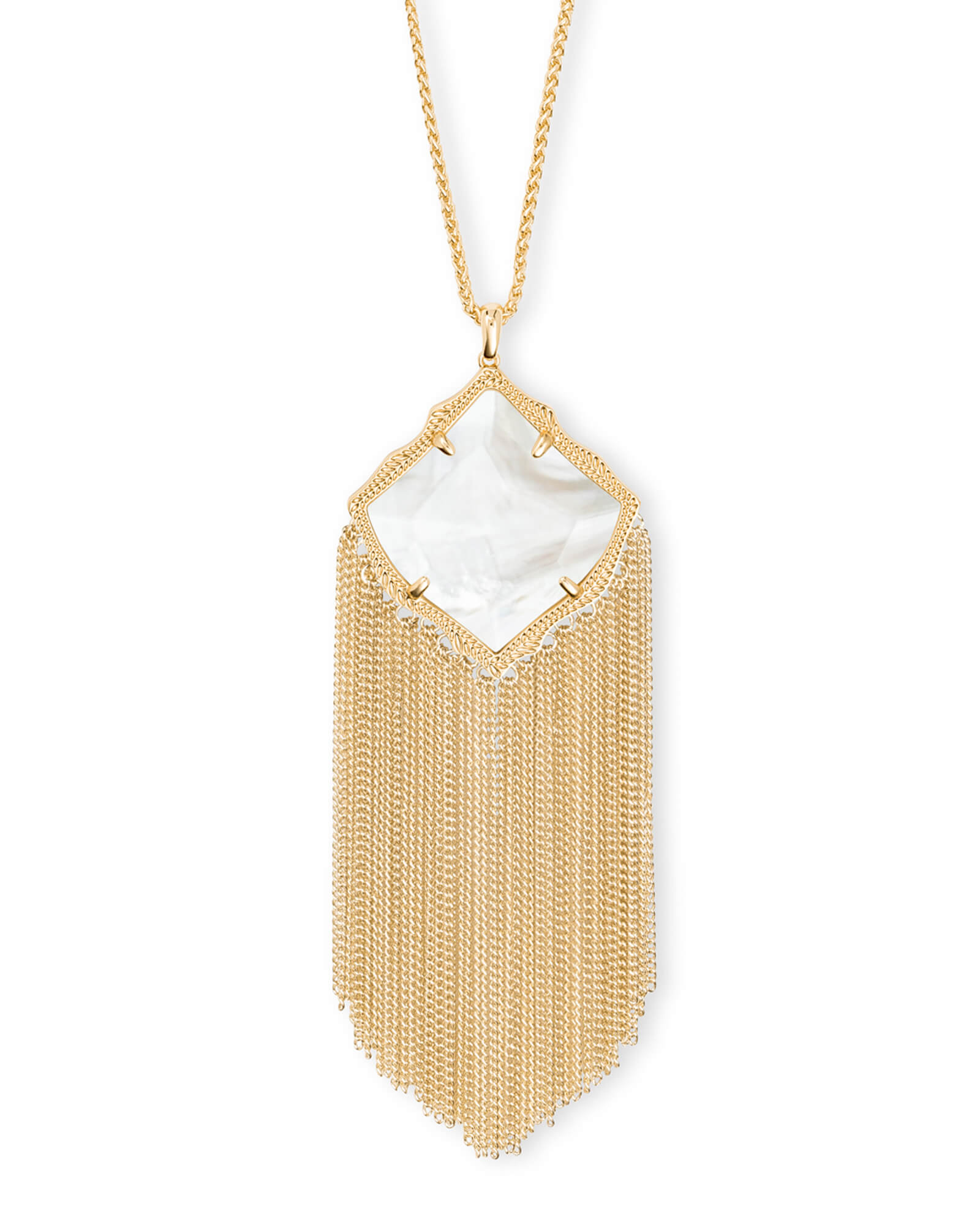 Kingston Gold Long Pendant Necklace in Ivory Pearl