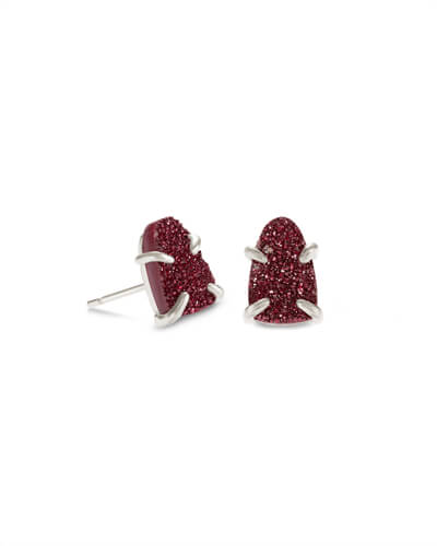 Harriett Silver Stud Earrings in Maroon Drusy