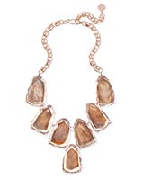 Harlow Rose Gold Statement Necklace in Suspended Brown Mother of Pearl