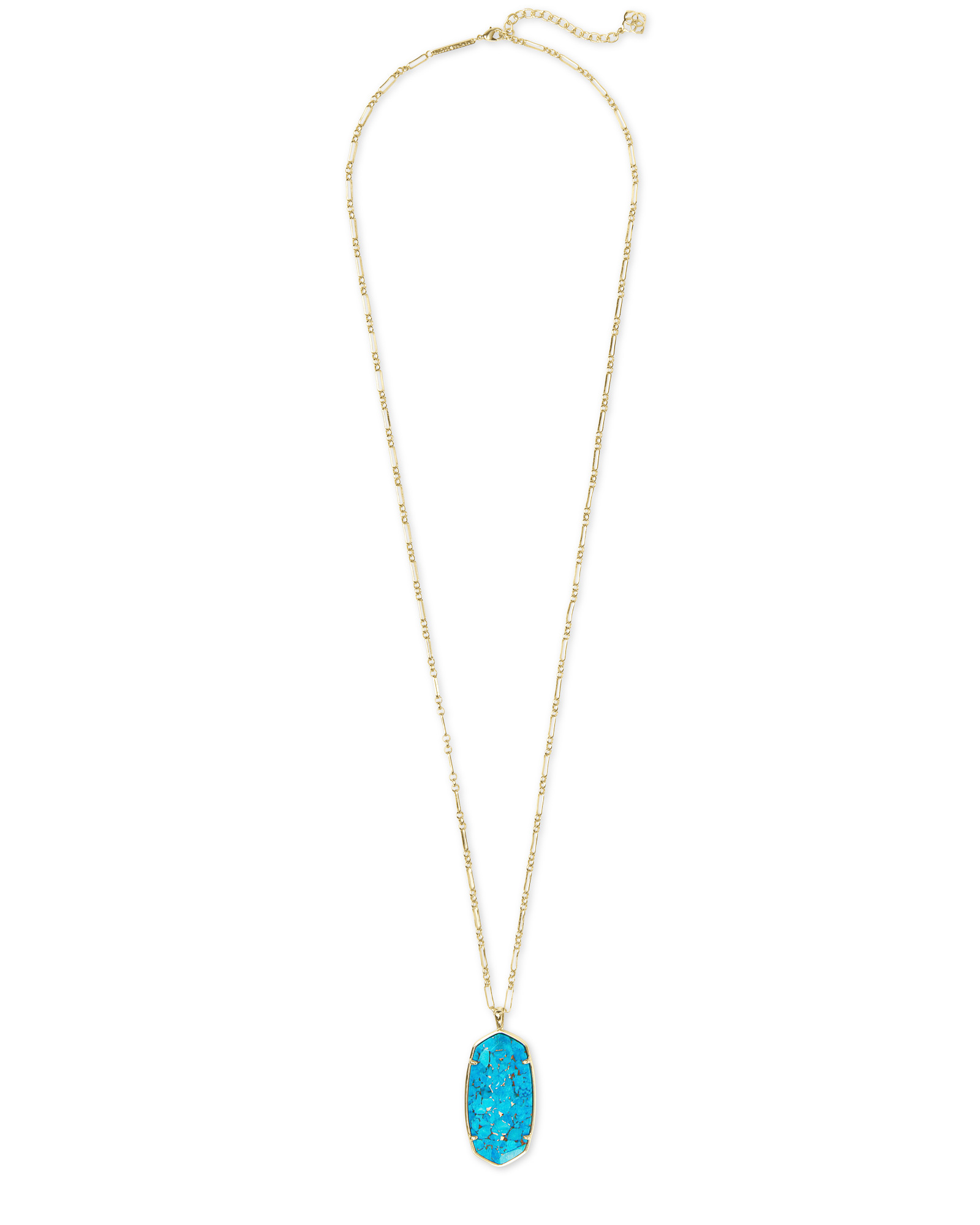 Faceted Reid Gold Long Pendant Necklace in Bronze Veined Turquoise Magnesite