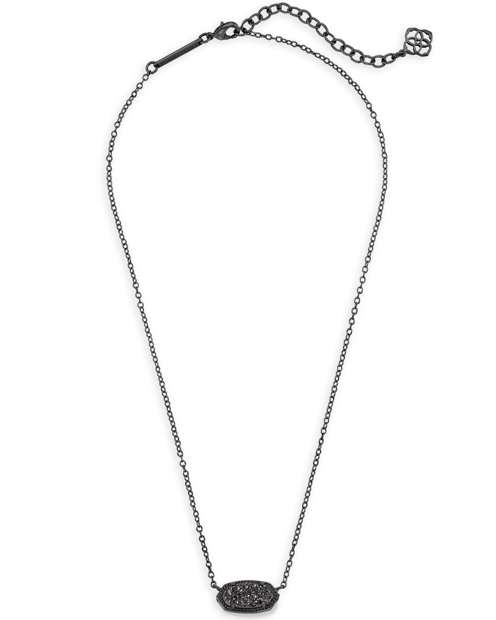 Elisa Gunmetal Pendant Necklace in Black Kendra Scott