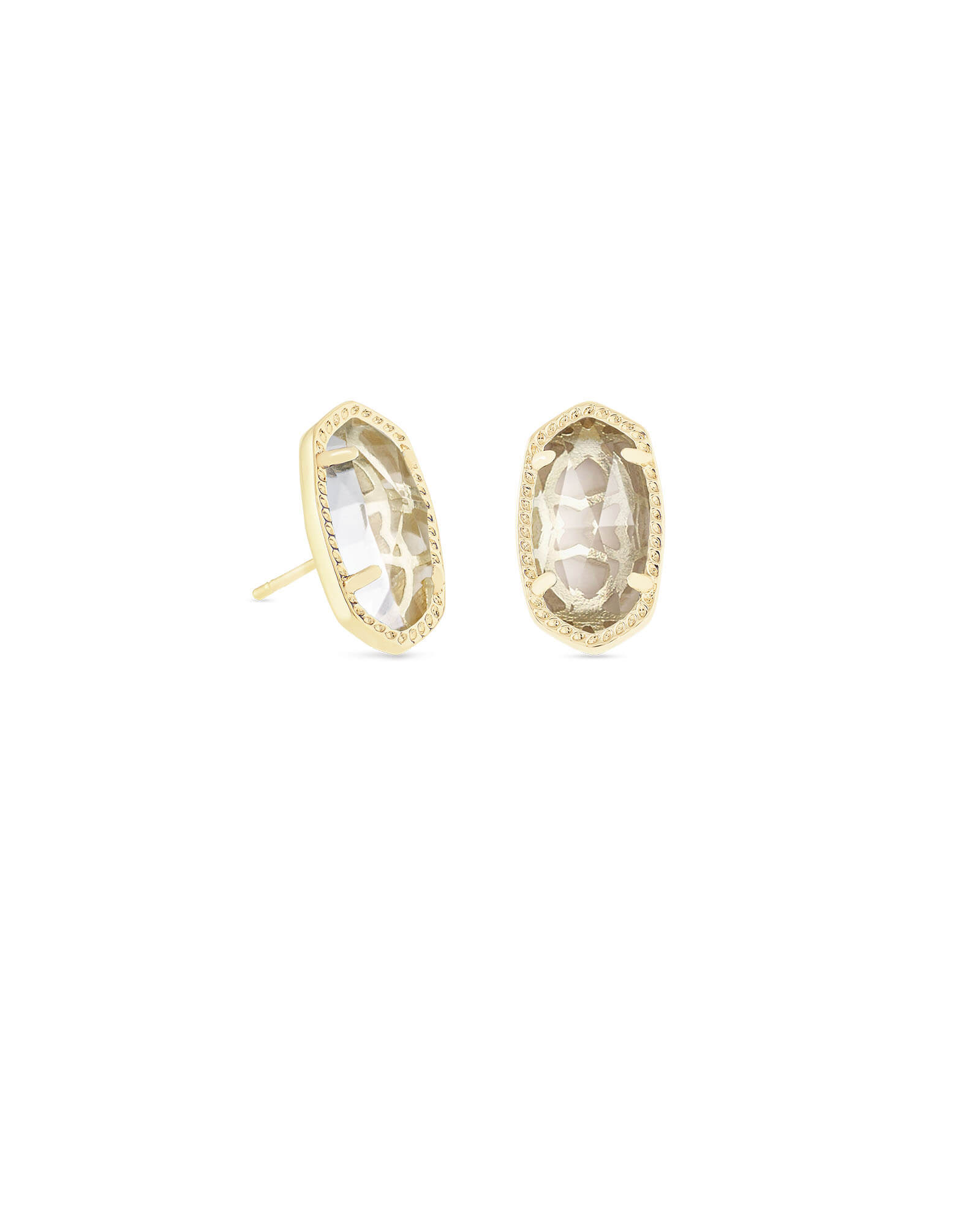 Ellie Gold Stud Earrings in Clear Crystal