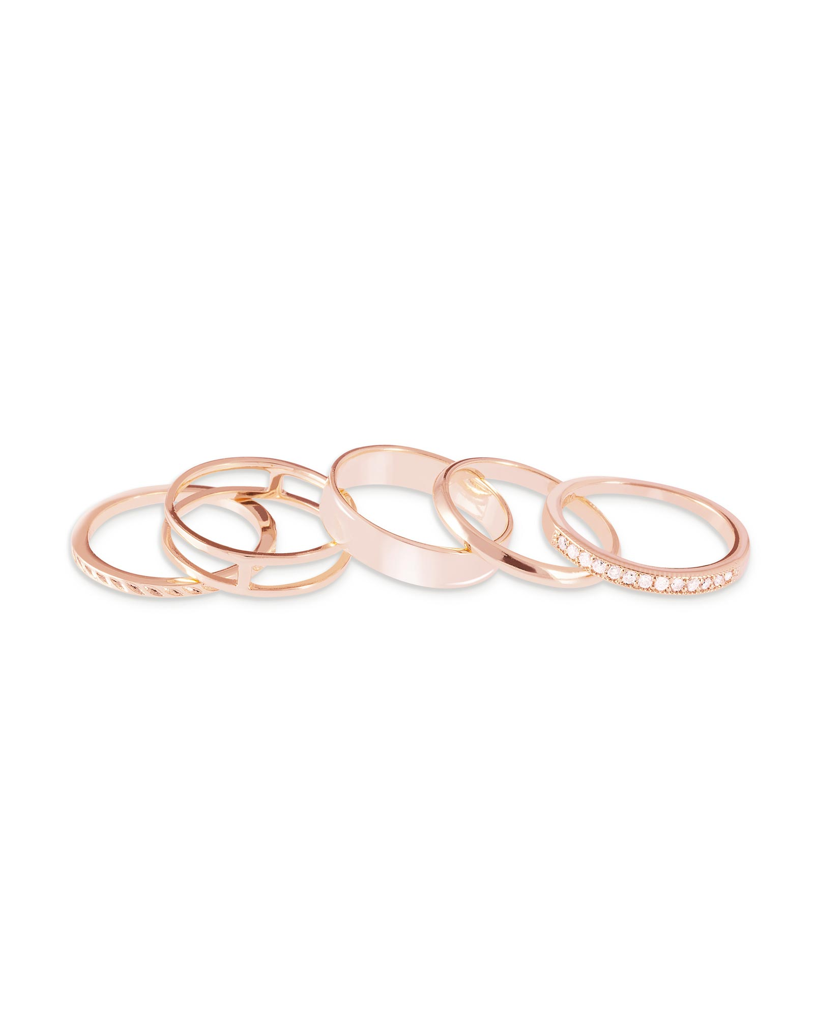 Kara Midi Ring Set in Rose Gold