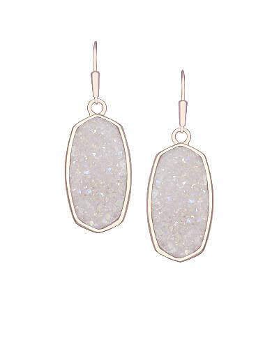 Danay Rose Gold Earrings in Iridescent Crystallized Drusy