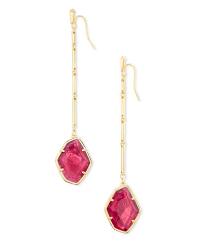 Charmian Gold Drop Earrings in Berry Illusion