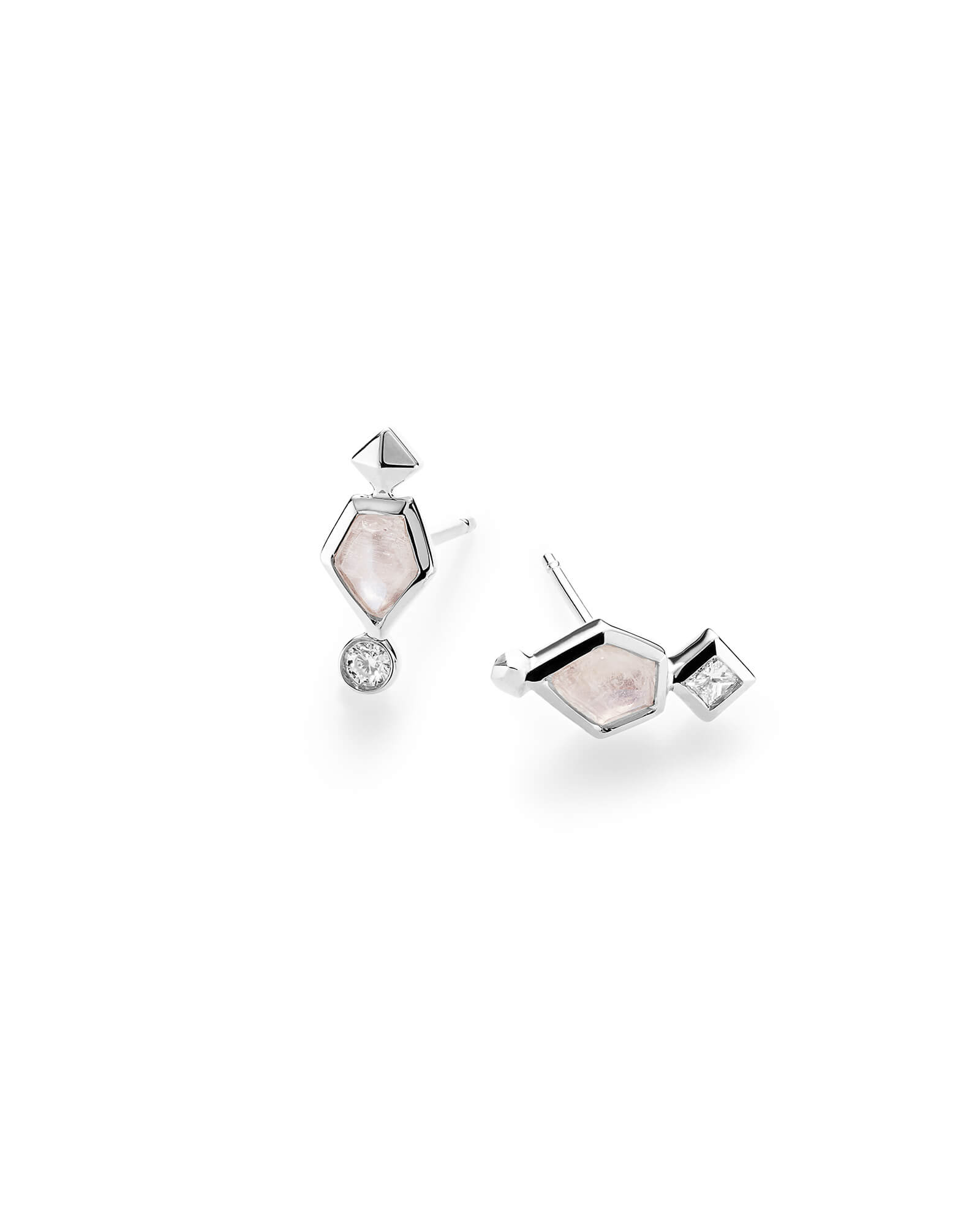 Bonnie Stud Earrings in Rainbow Moonstone and 14k White Gold