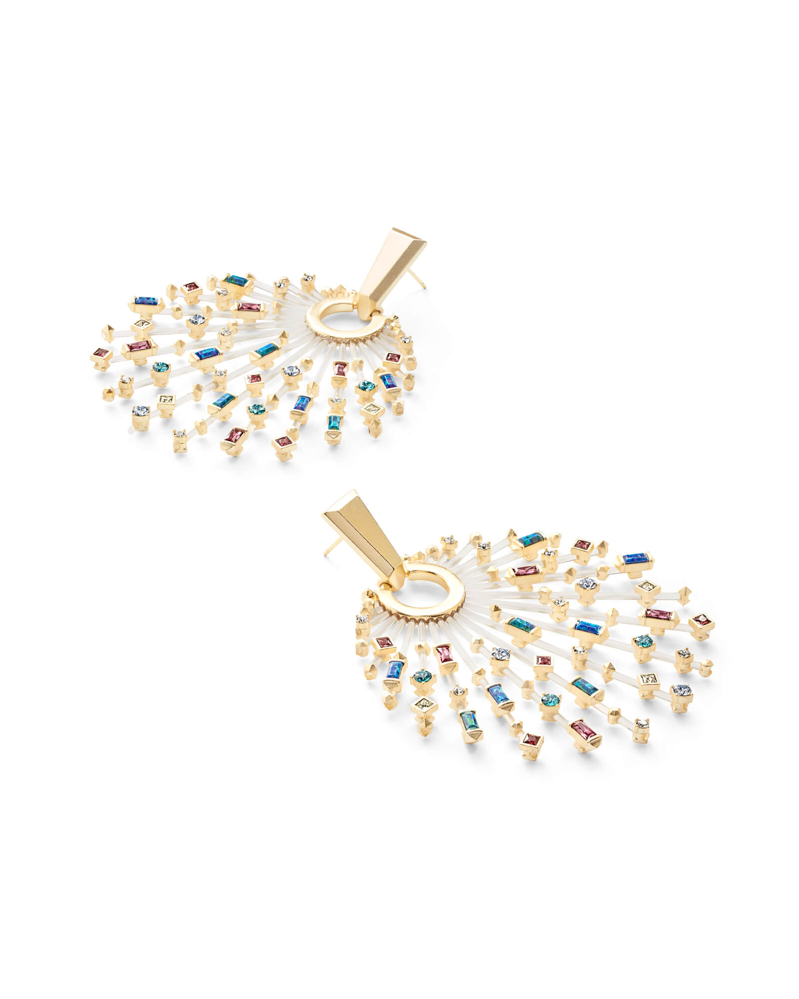 Fabia Gold Statement Earrings in Jewel Tone Mix