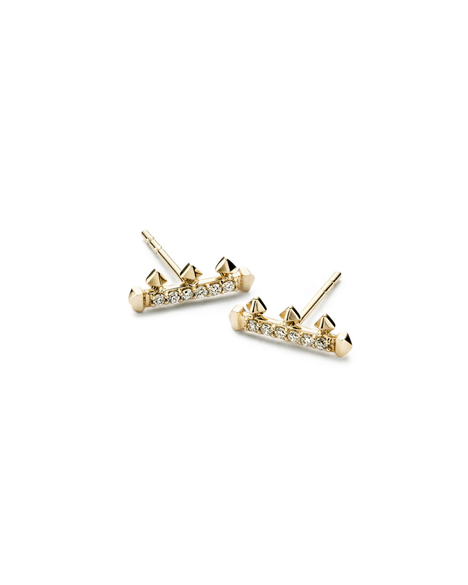 Dorothy Stud Earrings in White Diamond and 14k Yellow Gold