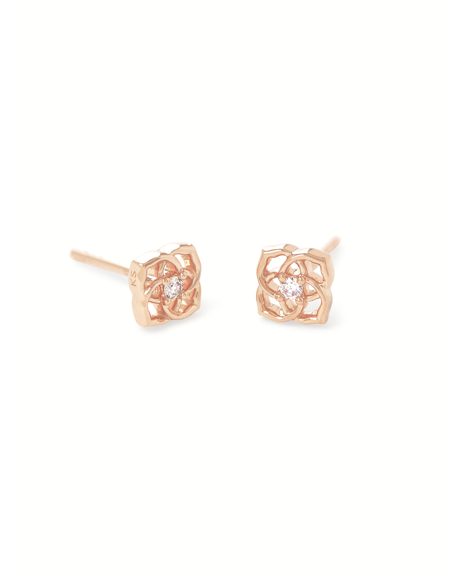 Fleur 14k Rose Gold Small Stud Earrings in White Diamond