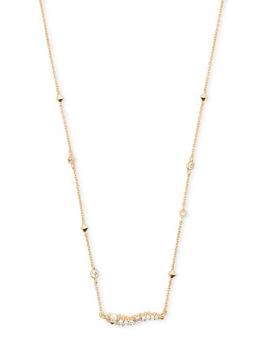 Kim Gold Pendant Necklace in White CZ