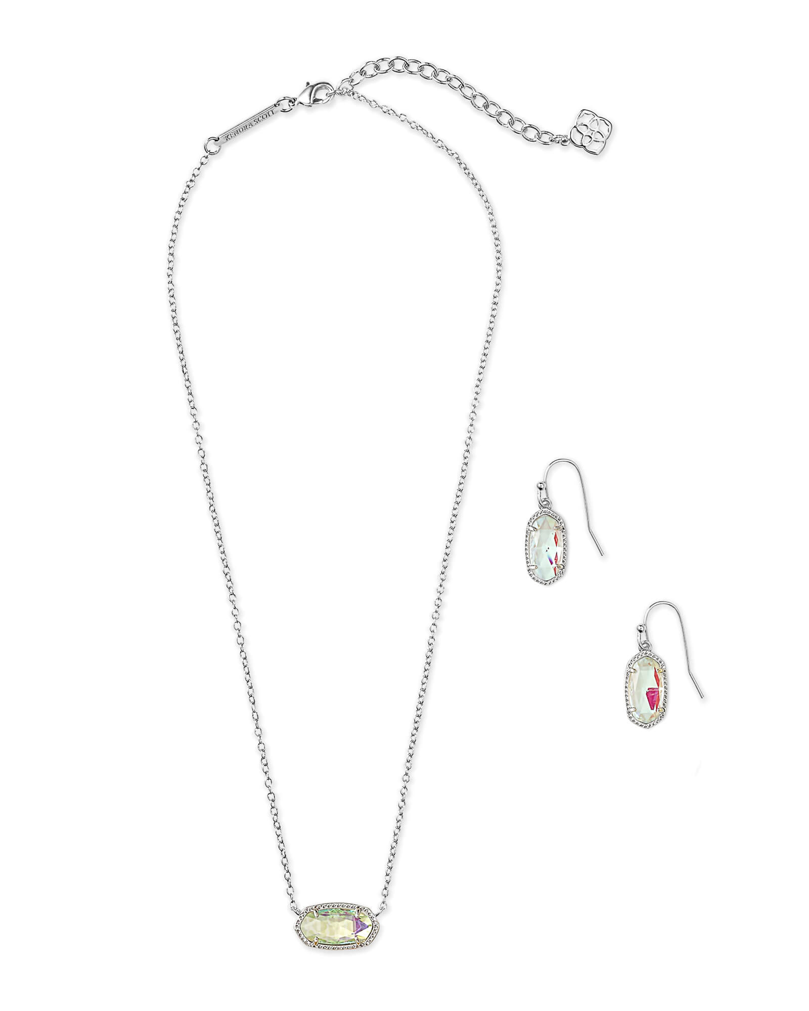 Elisa Necklace & Lee Earring Silver Gift Set In Dichroic Glass
