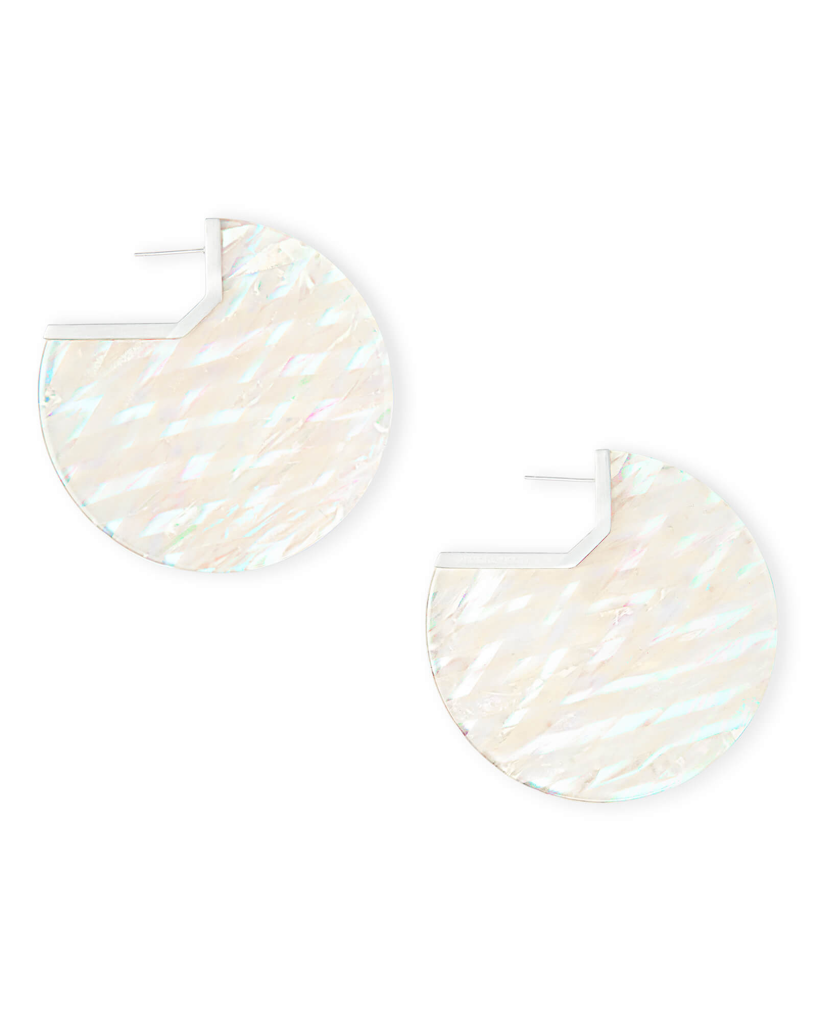 Kai Bright Silver Hoop Earrings in Iridescent Acetate