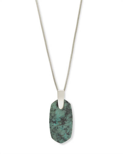 Inez Silver Long Pendant Necklace In African Turquoise
