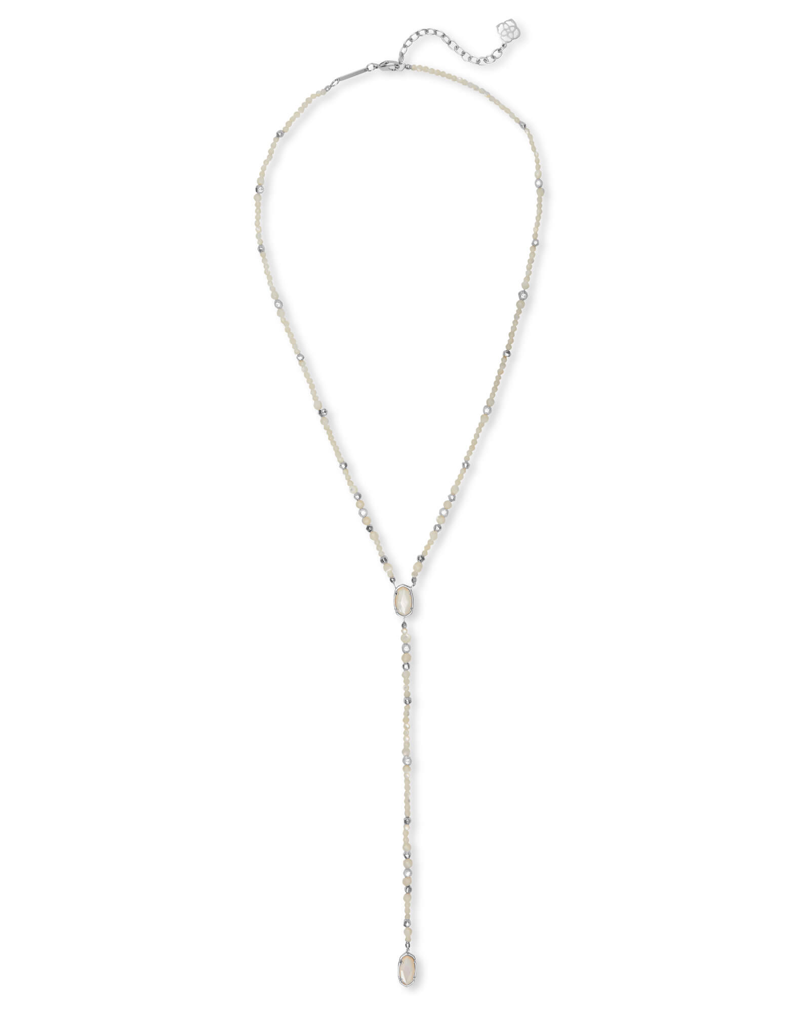 Bethany Silver Y Necklace in Ivory Pearl