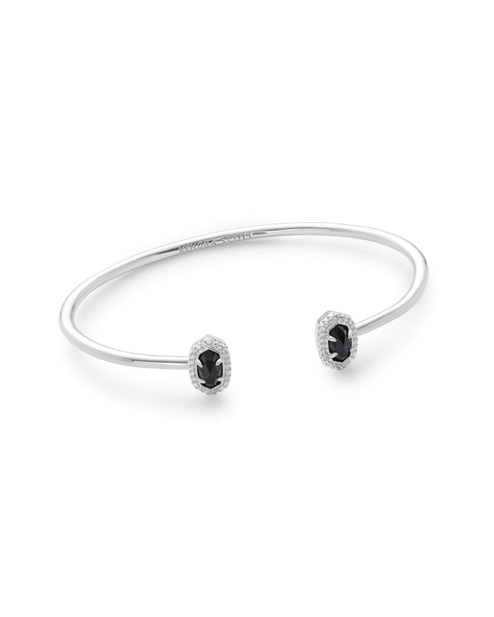 Calla Silver Cuff Bracelet in Black Opaque Glass