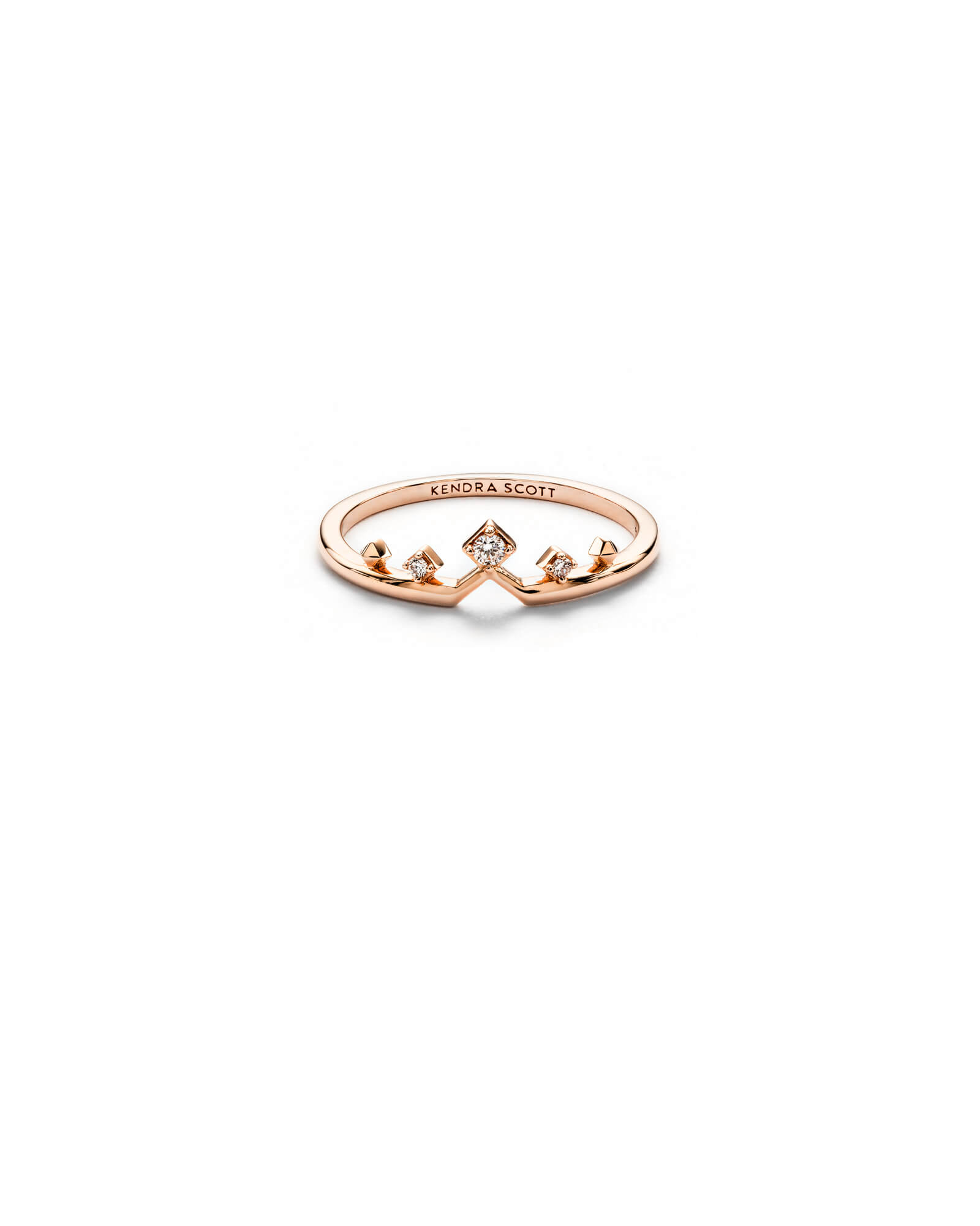 Michelle 14k Rose Gold Band Ring in White Diamond