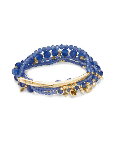 Supak Gold Beaded Bracelet Set in Navy Cats Eye