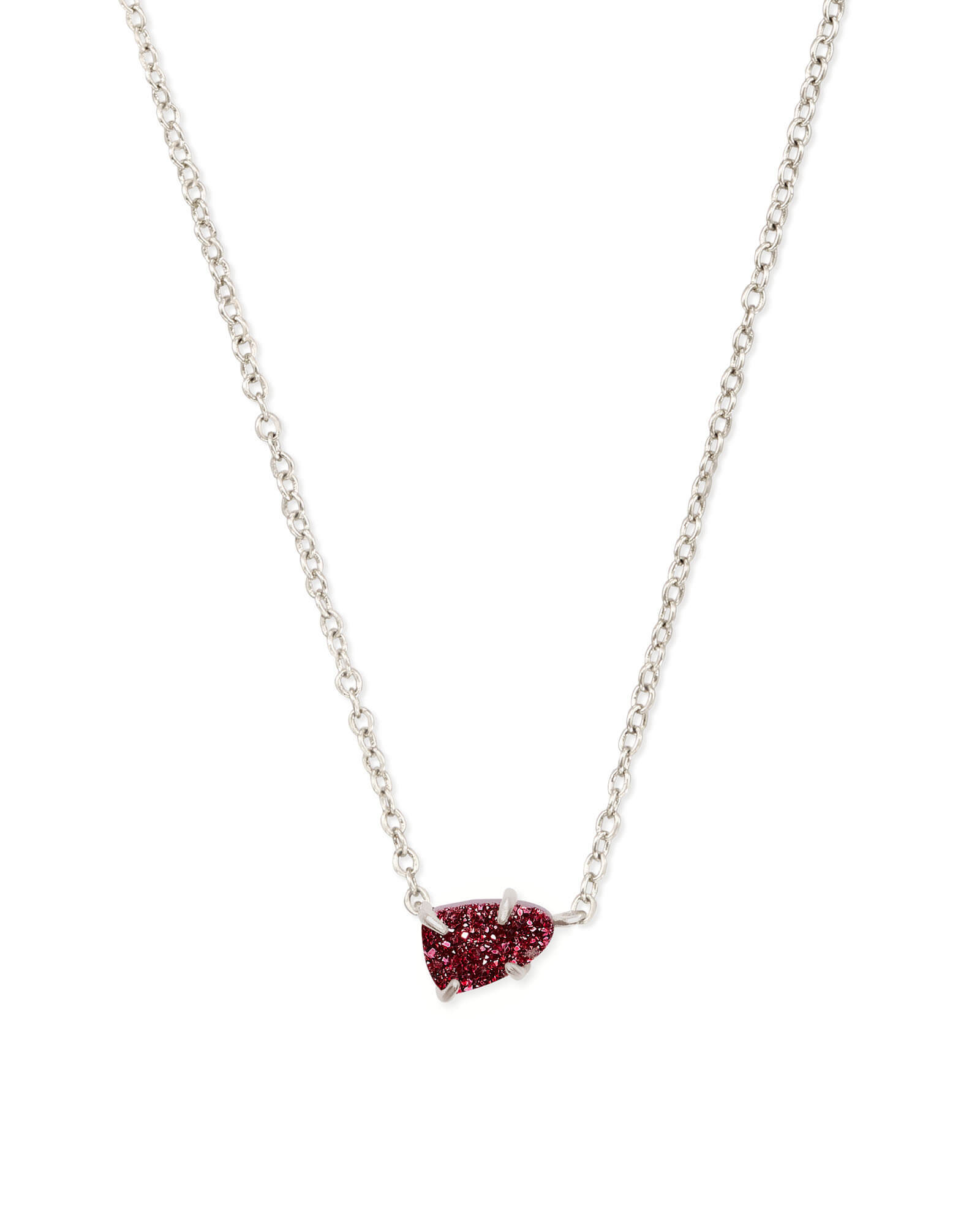 Helga Silver Pendant Necklace in Maroon Drusy
