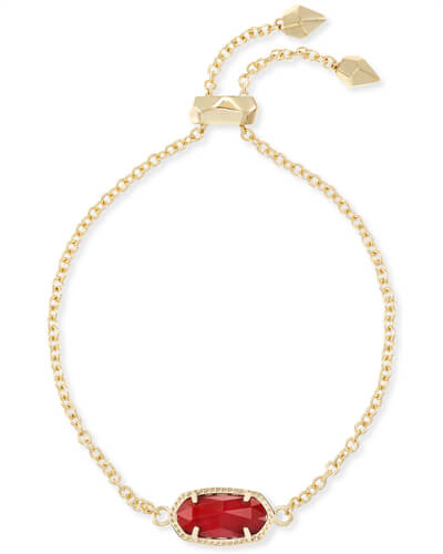 Elaina Gold Adjustable Chain Bracelet in Dark Red
