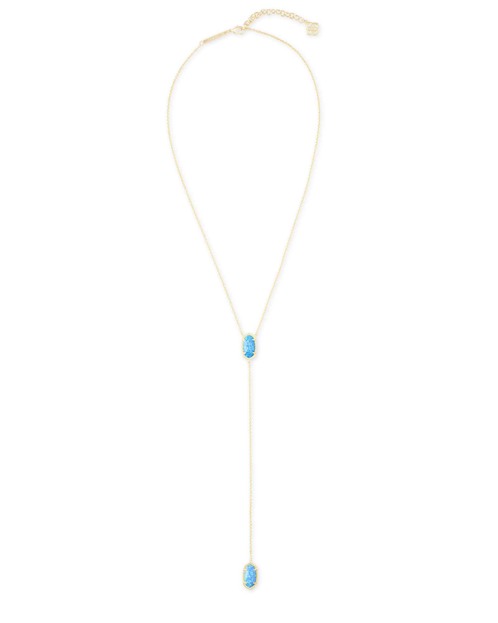 Ellison Gold Y Necklace in Ocean Kyocera Opal